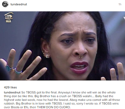 Nigerian producer, Tunde Ednut guidelines that the massive Brother Naija votes turned into rigged to favour Tboss
