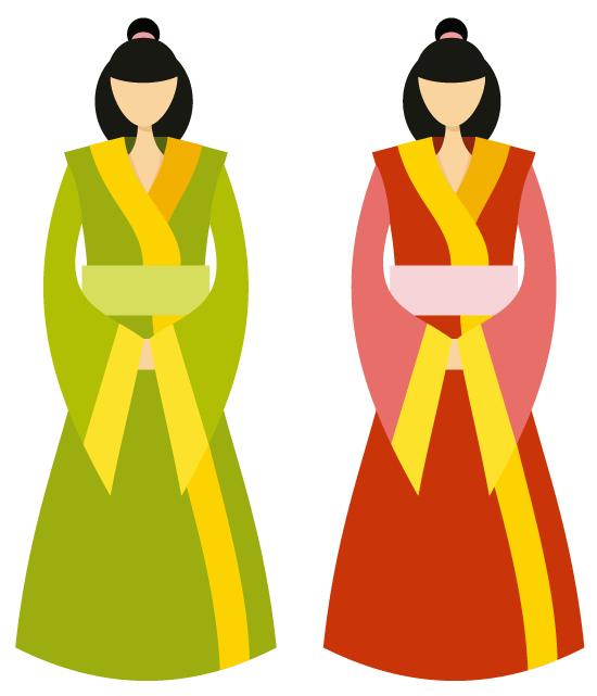 Mujeres chinas con ropa tradicional, hnfu, vector y PNG de fondo transparente, en combinaciones de verdes con amarillos y rojos con amarillos.