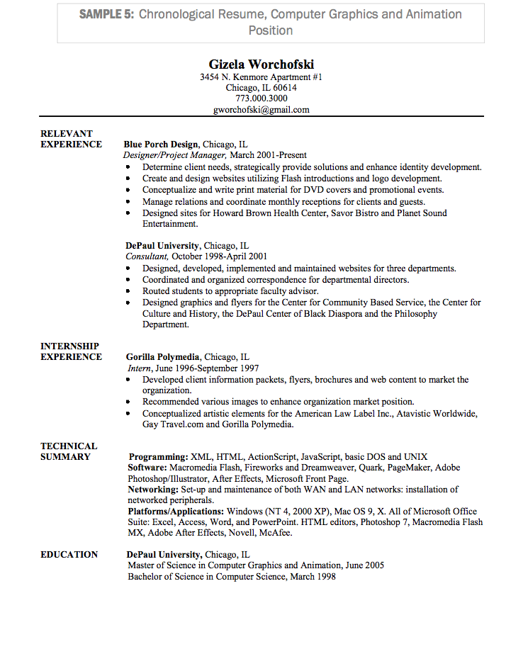examples of chronological resumes 30052017 - Examples Of Chronological Resumes