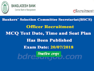 Bankers´ Selection Committee Secretariat(BSCS) Officer Recruitment MCQ Test exam date