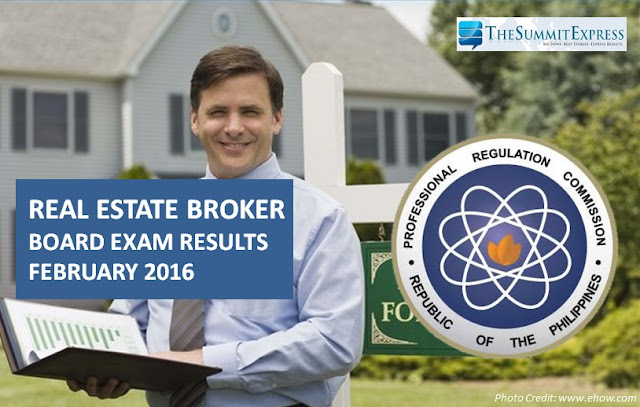 February 2016 Real Estate Broker board exam passers