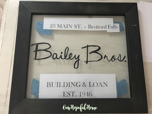 double glass frame bailey bros. painted script