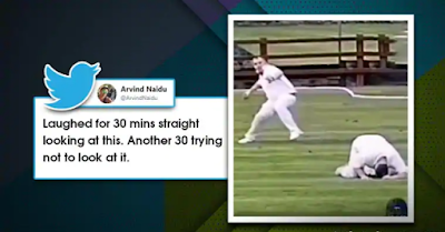 A fitting punishment? wonder netizens as hilarious misfielding mishap goes viral