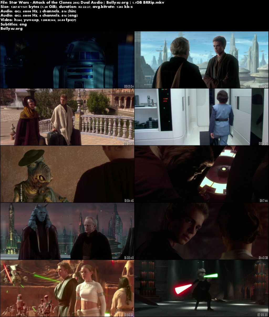 Star Wars Attack of the Clones 2002 BRRip Hindi 720p Dual Audio 1.2Gb Download