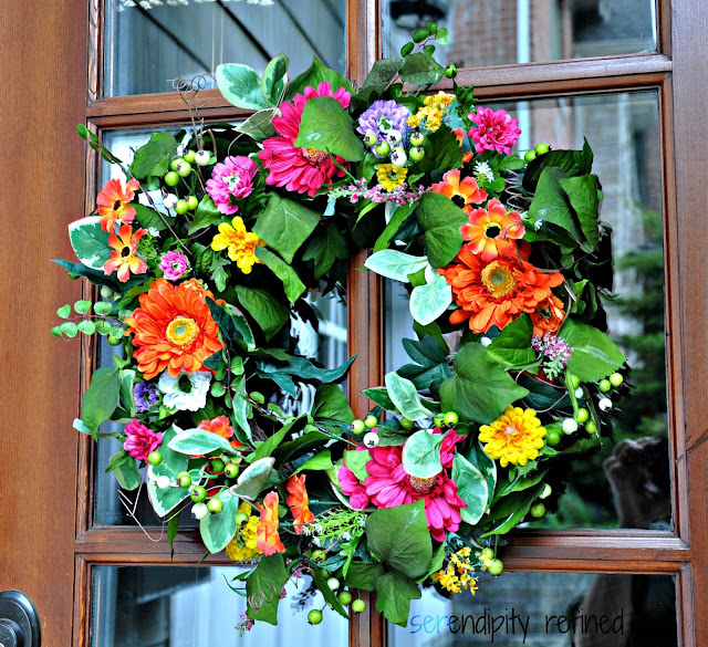 Bright colored flowers wreath spring summer gerbera daisy dahlia