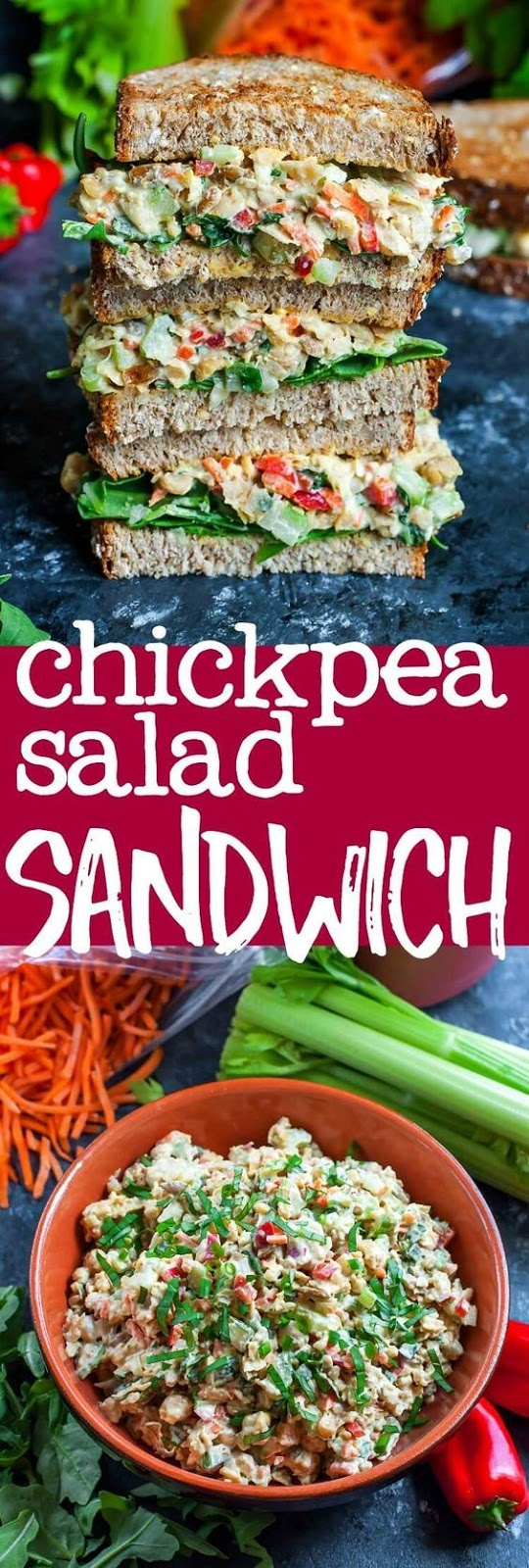 This tasty Garden Veggie Chickpea Salad Sandwich is a plant-based powerhouse of a lunch! Make it in advance for a party or picnic or to take along as an easy weekday lunch for work or school.