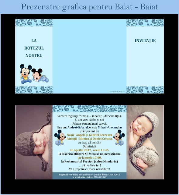 invitatii botez cu foto gemeni Twins