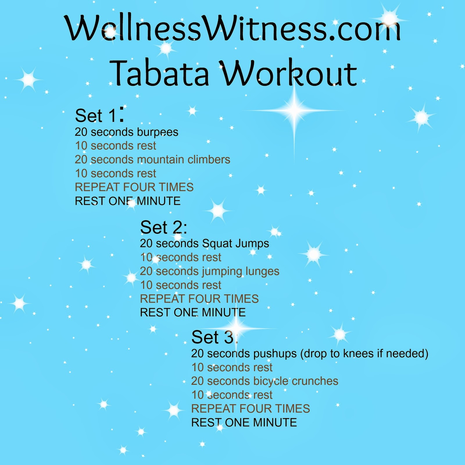 Wellness Witness: At Home Workout Idea...Tabata Style