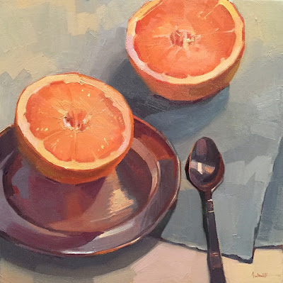 grapefruit oil painting still life by sarah sedwick