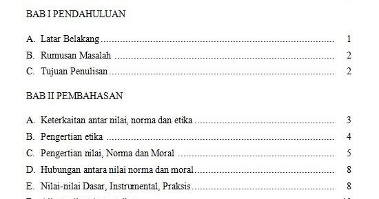 Contoh Daftar Isi Untuk Makalah Newhairstylesformen2014 Com