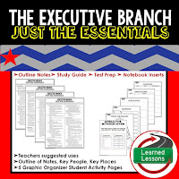 Executive Branch Outline Notes, Civics Test Prep, Civics Test Review,Civics Study Guide, Civics Summer School Outline, Civics Unit Reviews, Civics Interactive Notebook Inserts