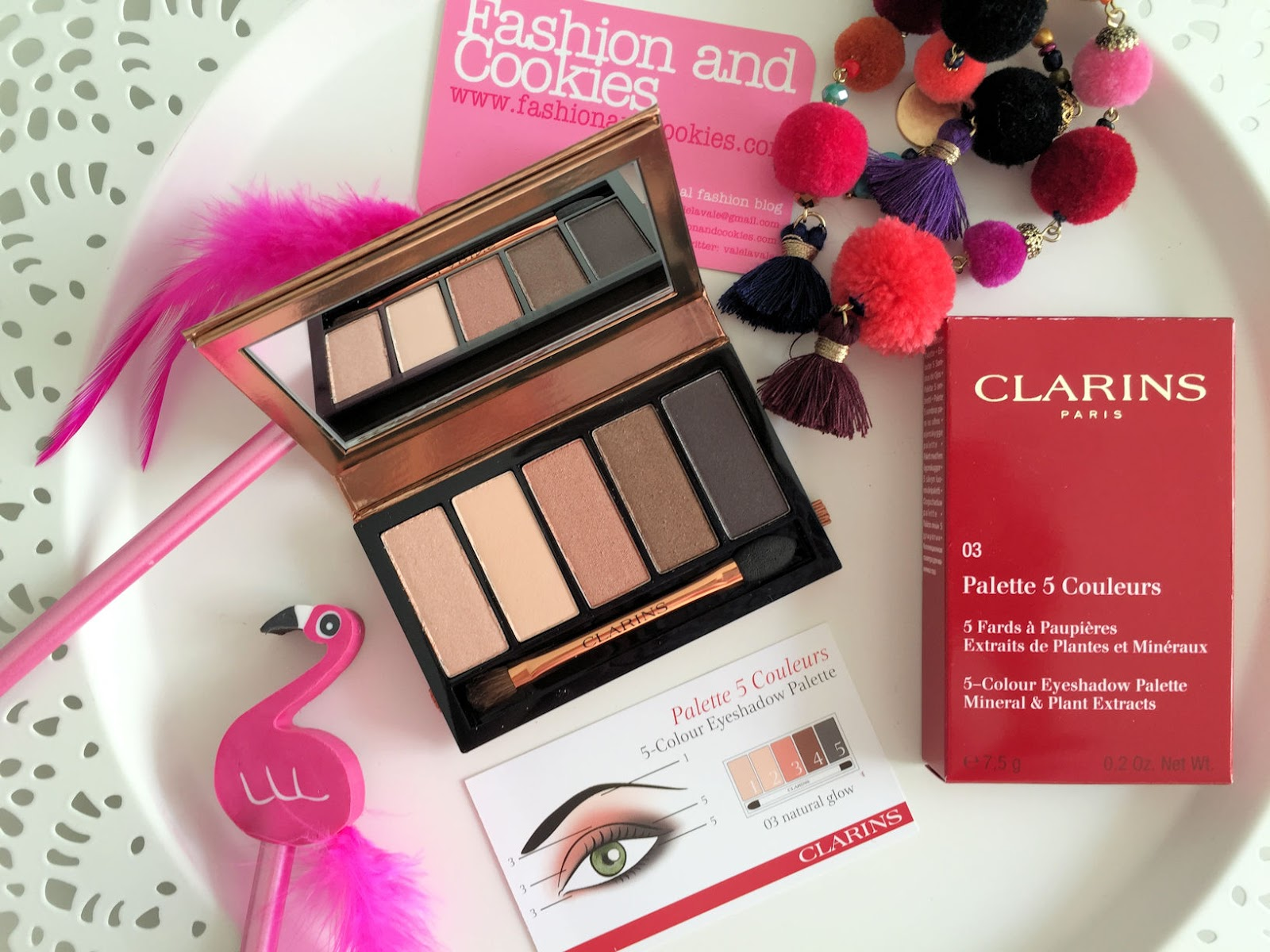 Clarins makeup Instant Glow Spring 2016 collection 5-colors eyeshadow palette review on Fashion and Cookies beauty blog, beauty blogger