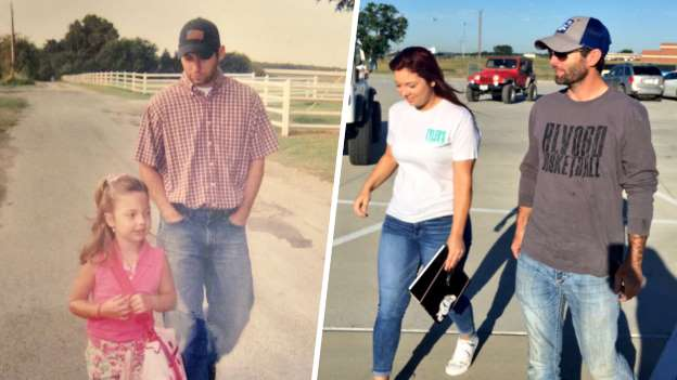 Dad walks daughter to first day of kindergarten ... and last day of high school