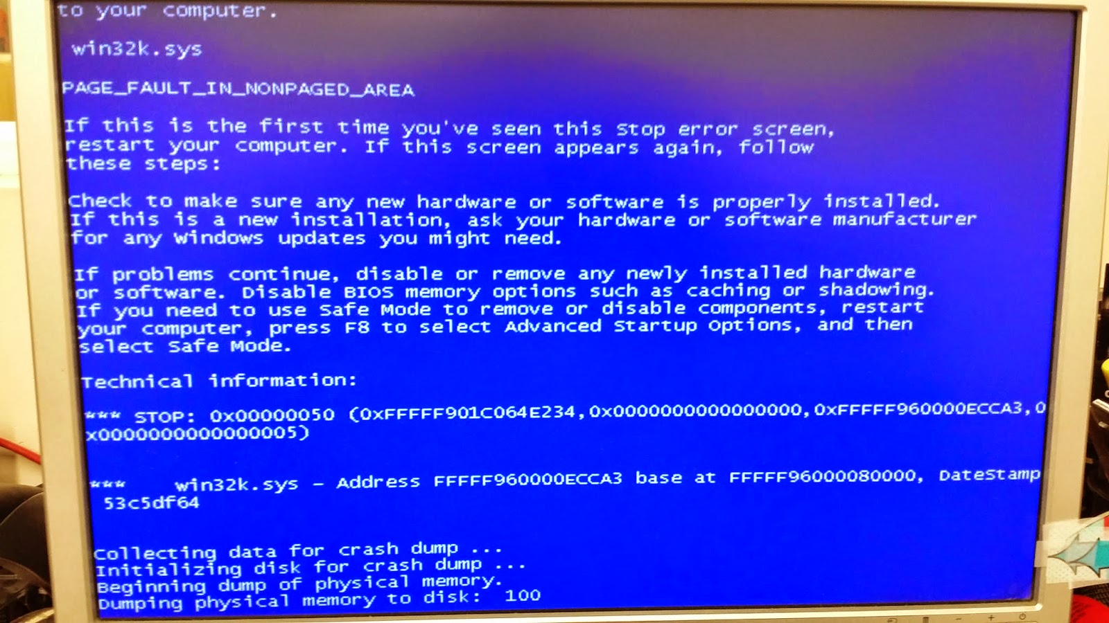 How to fix the Blue Screen BSOD (0x50) after applying update