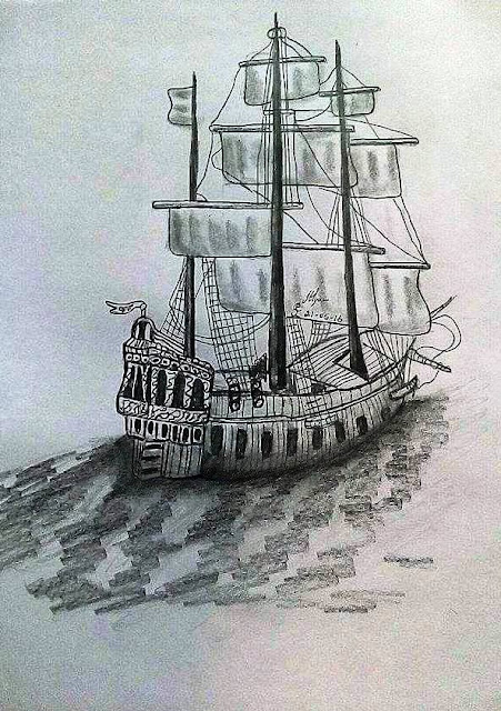 PENCIL DRAWING - 3D BOAT