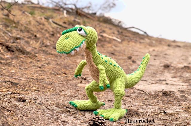 szydełko amigurumi dinozaur