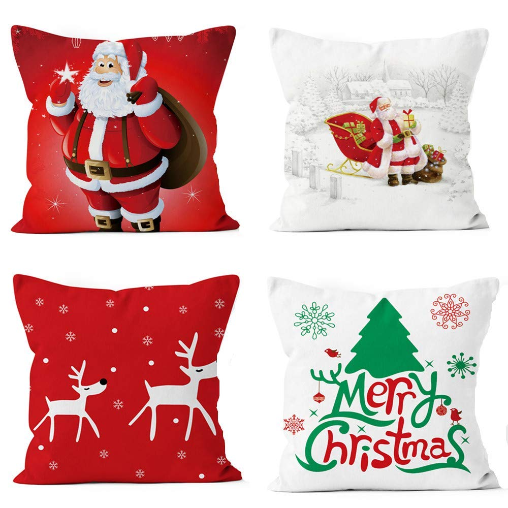 1698 free ship christmas throw pillow covers set of 4 - Christmas Decorative Pillow Covers