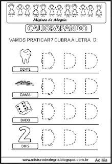 Caligrafando letra D pontilhada
