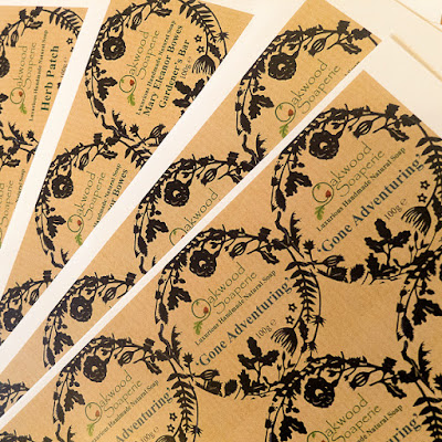Oakwood Soaperie, soap labels