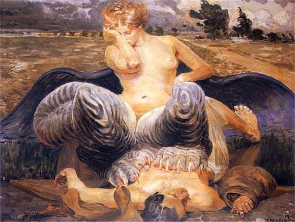 The sphinx, Jacek Malczewski, Casado del Alisal, Macabre Art, Macabre Paintings, Horror Paintings, Freak Art, Freak Paintings, Horror Picture, Terror Pictures