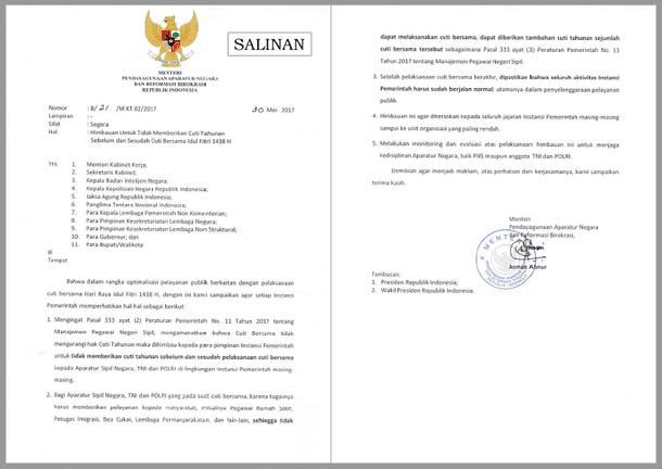 Surat Menteri PANRB Tentang Himbauan Untuk Tidak Memberikan Cuti Tahunan Sebelum dan Sesudah Cuti Bersama Idul Fitri 1438 H