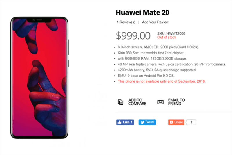 Huawei Mate 20 leaked specs and price