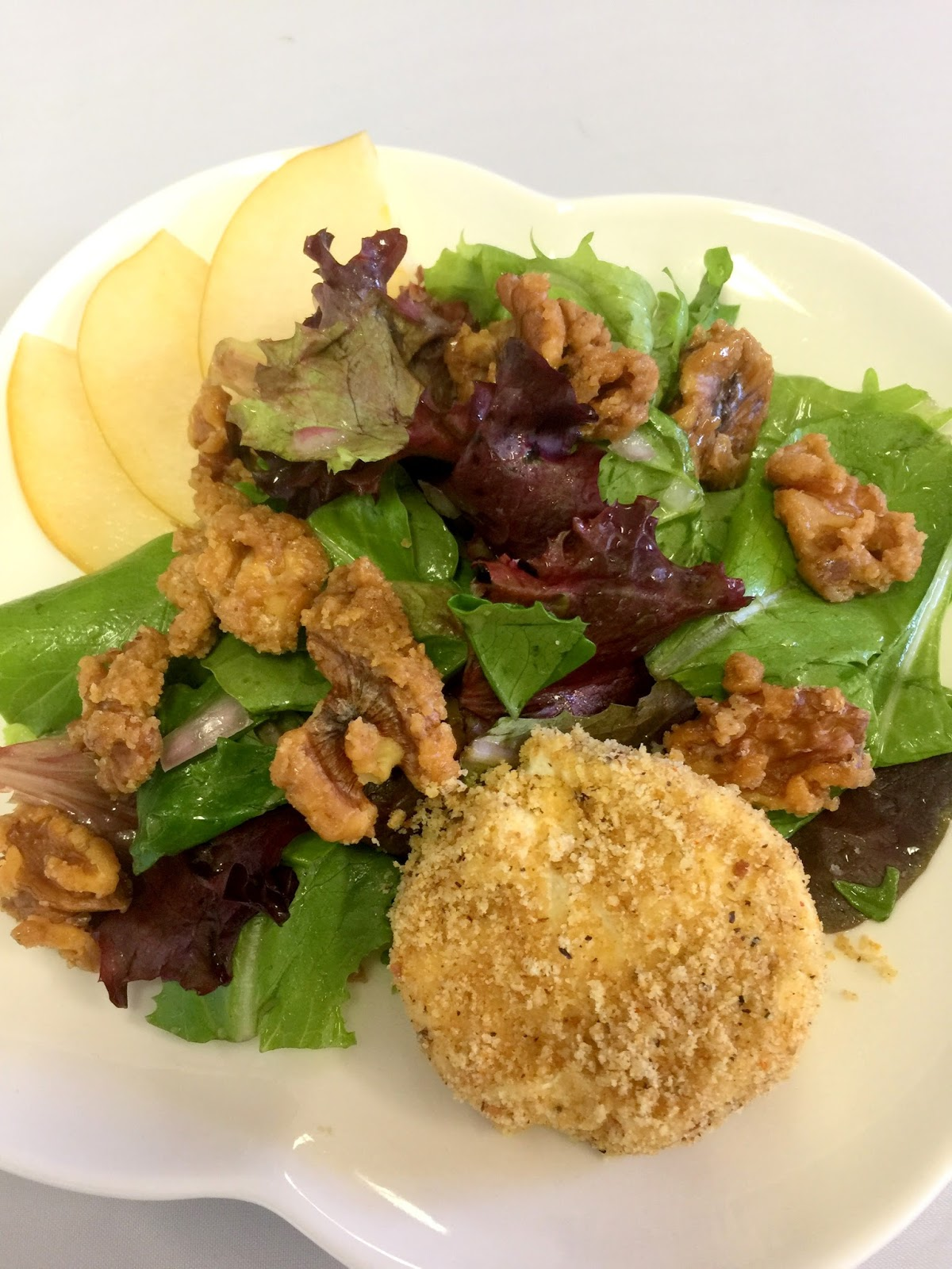 ... Warm Goat Cheese Salad with Asian Pears and Honey Walnut Vinaigrette
