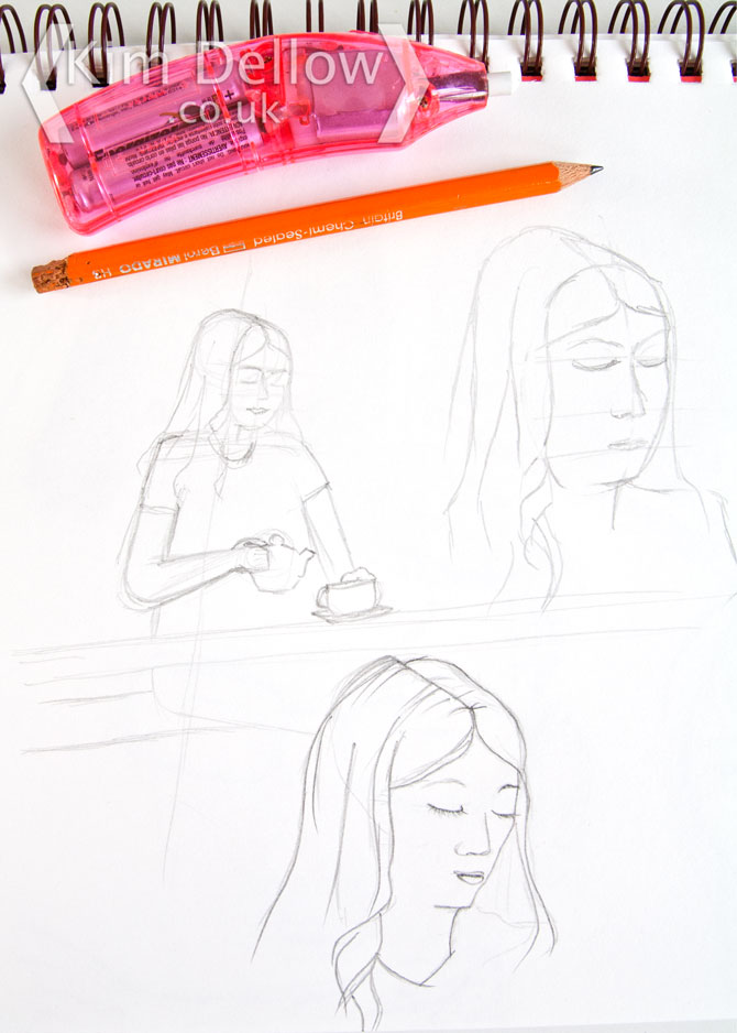 face sketches in pencil