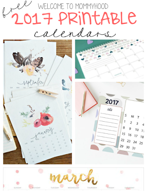 5 free 2017 calendars by Welcome to Mommyhood #organization, #2017, #printablecalendars, #2017organization