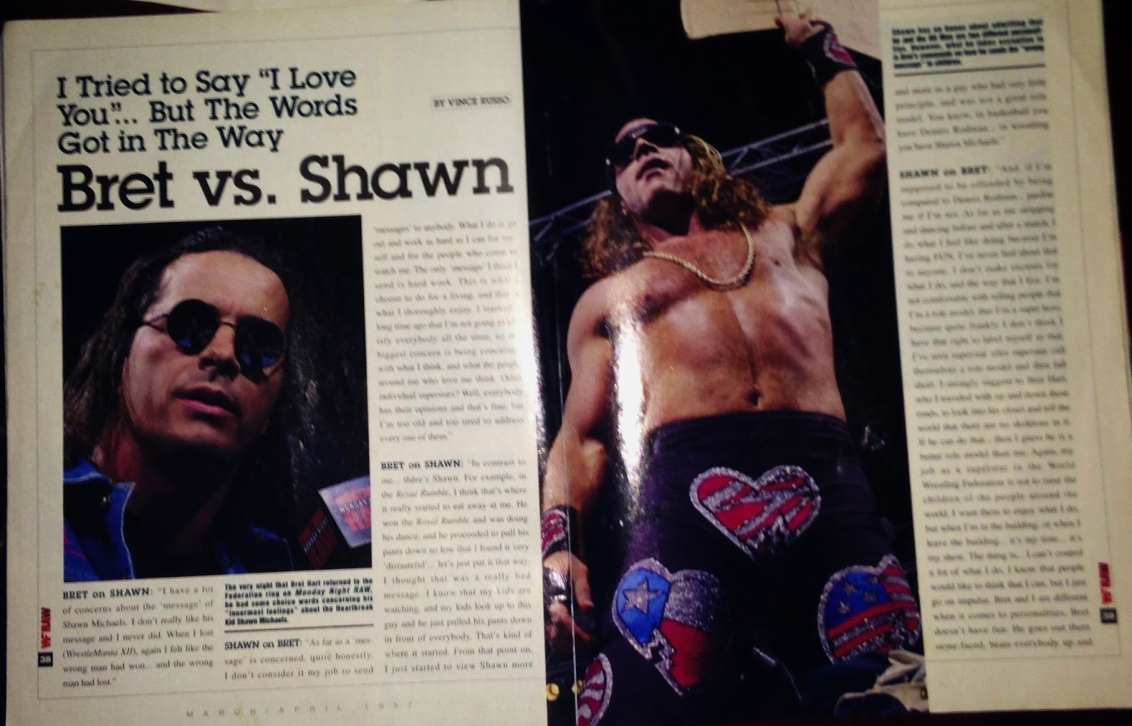 WWE - WWF RAW MAGAZINE 1997: Bret vs. Shawn war of words