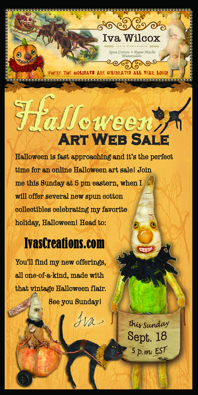 Join me Sunday, Sept. 18 for my Halloween Art web sale, 5 pm eastern, right here on this blog!