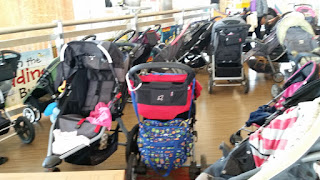 stroller parking lot on the 5th floor of Silver Spring Library