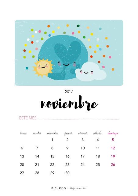 Dibu calendario imprimible gratis para noviembre