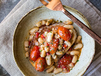 White Bean and Tomato Ragout Over Ciabatta
