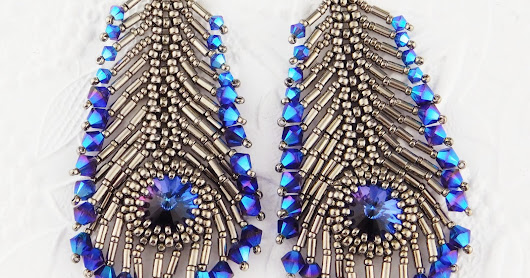 Peacock Feather Earring Kit: Purple/Blue Colorway