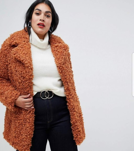 River Island Plus teddy coat in tobacco €65.49