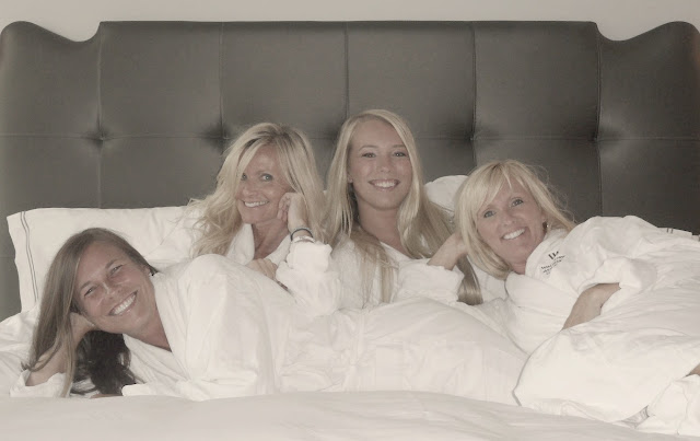 Four blondes in white spa robes Waldorf Chicago by Hello Lovely Studio