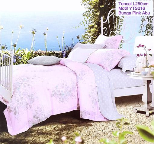 Sprei Tencel Motif Bunga Pink Abu