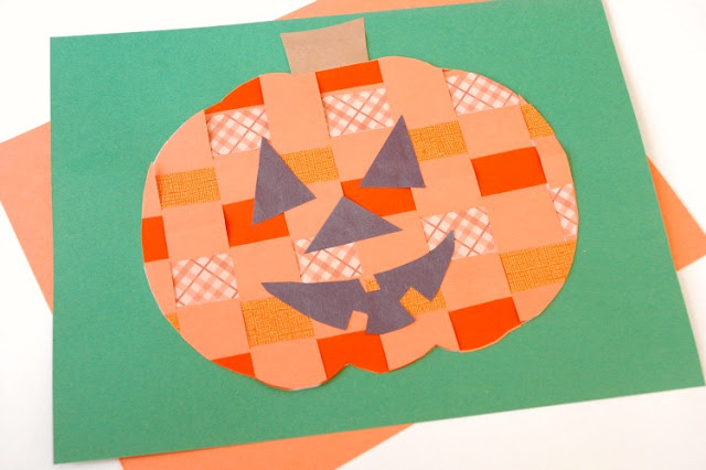 Halloween Craft Paper Weaving Jack-O-Lantern