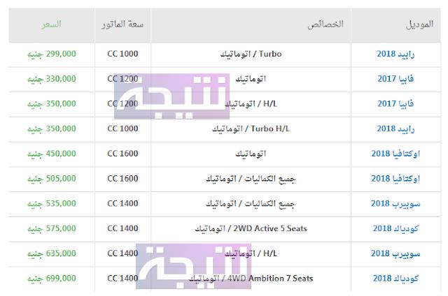 أسعار سيارات سكودا 2018 في مصر