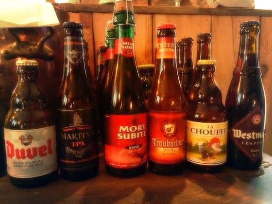Bottles of Belgium beer for tasting.