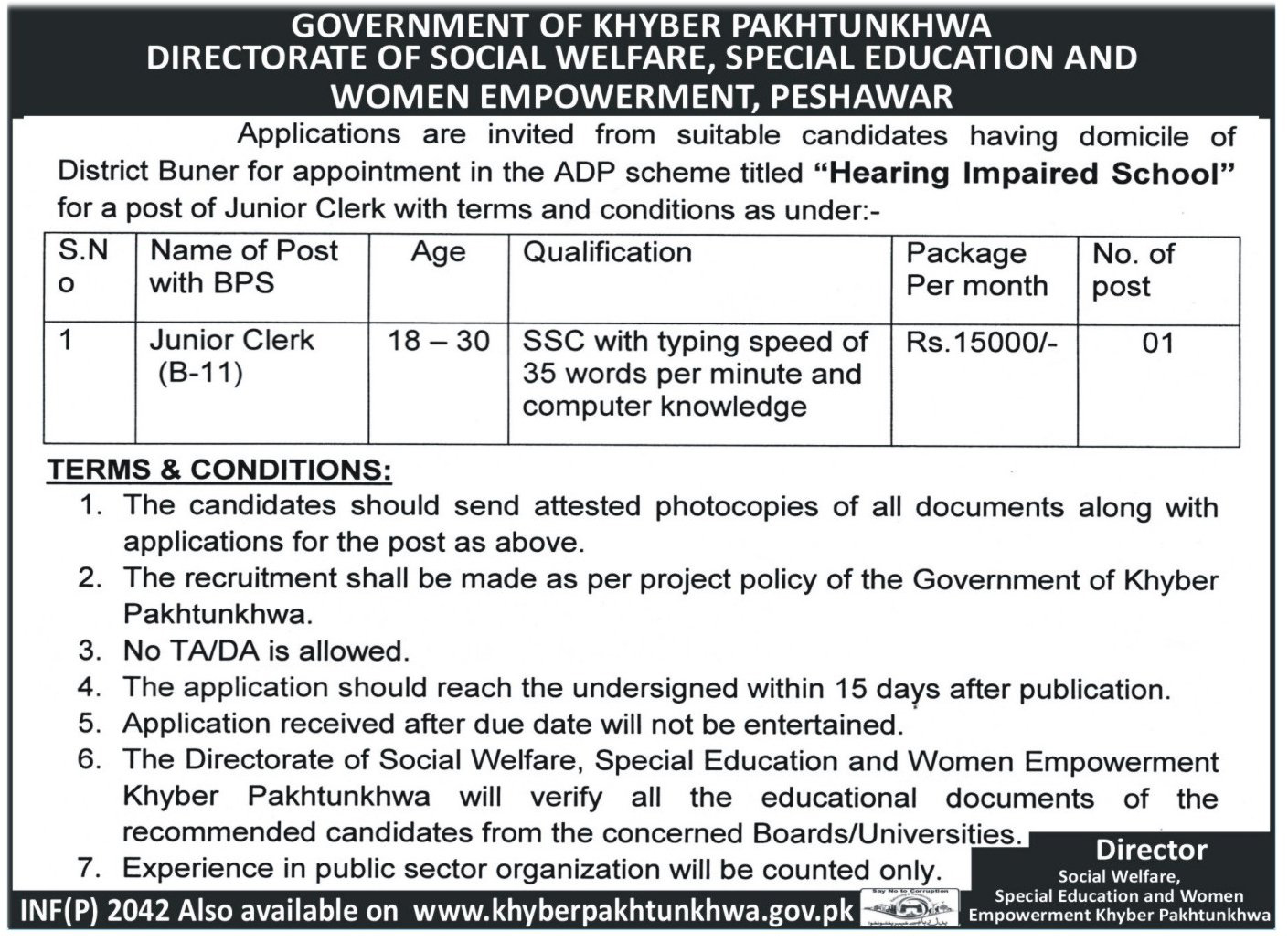 Bps-11 jobs in Social Welfare Special Education Department 3 may 2017
