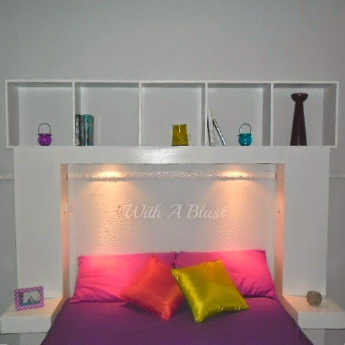 DIY Headboard with Built-in Lights, shared by With a Blast
