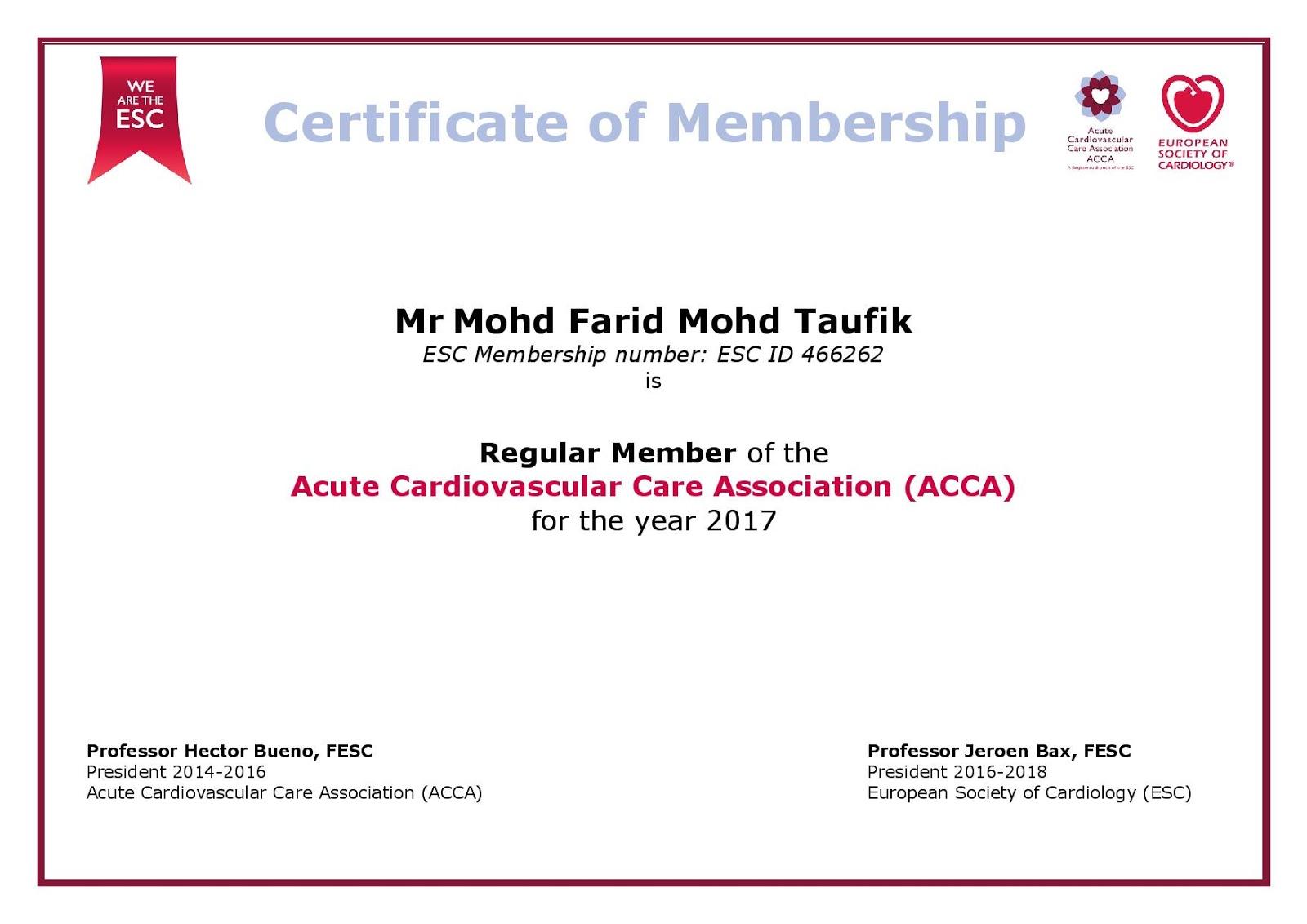 Cvt mohd farid my european society of cardiology sub society 2017 regular membership of acca esc xflitez Images