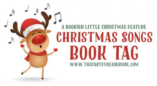 Christmas Songs Book Tag banner featuring a singing Rudolph