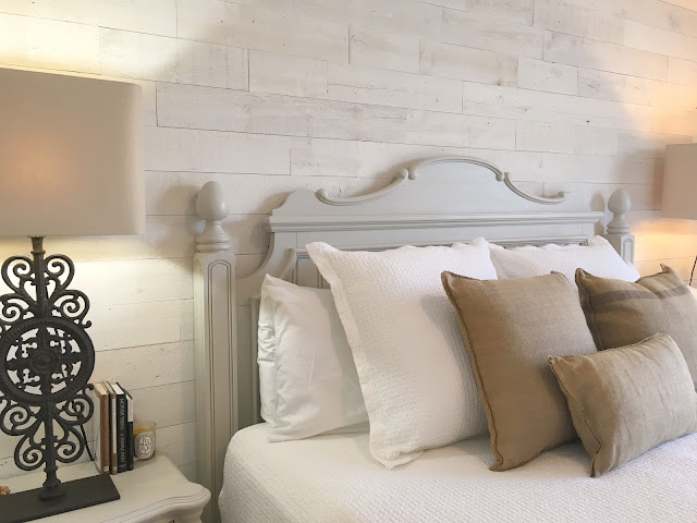 Wood plank wall in bedroom at Hello Lovely fixer upper Stikwood Hamptons