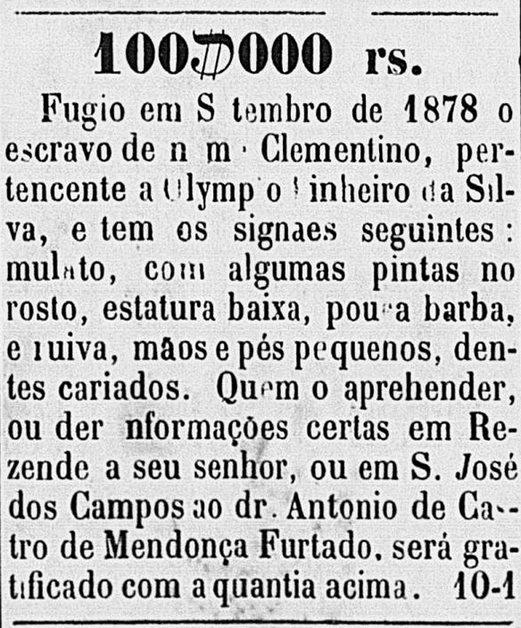 Anúncio de busca de escravo fugido apresentado em 1878