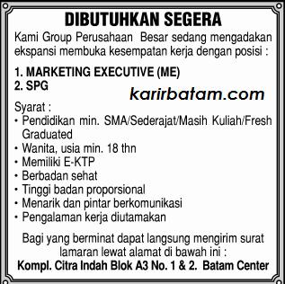 Lowongan Kerja Marketing Executive dan SPG