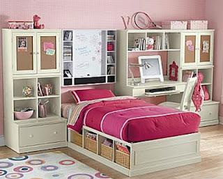 dormitorio rosa y blanco niña