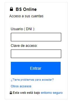 Tabla de acceso para los clientes del banco Sabadell